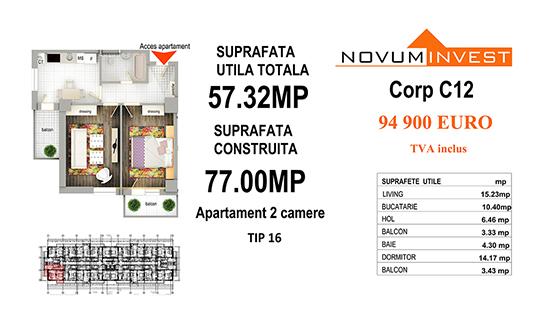 Apartament 2 camere Tip 16 - Corp C12 - Splaiul Independentei Bloc 6