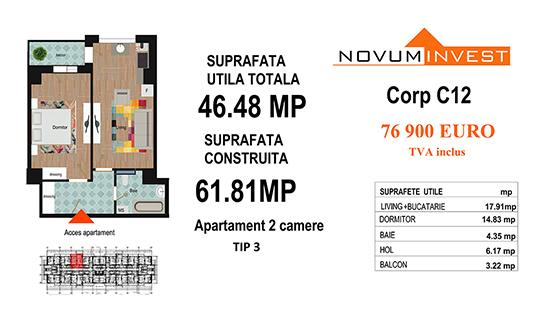 Apartament 2 camere Tip 3 - Corp C12 - Splaiul Independentei Bloc 6