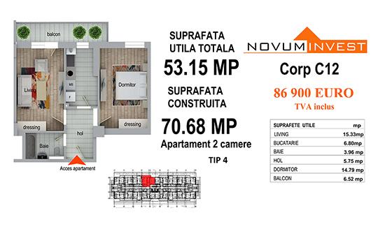 Apartament 2 camere Tip 4 - Corp C12 - Splaiul Independentei Bloc 6