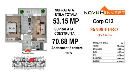 Apartament 2 camere Tip 5 - Corp C12 - Splaiul Independentei Bloc 6