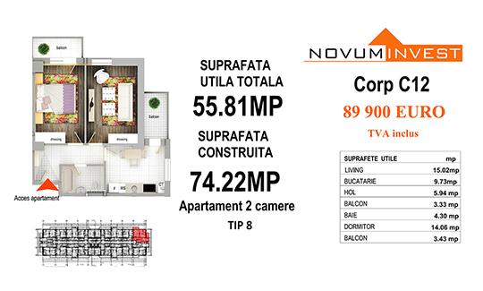 Apartament 2 camere Tip 8 - Corp C12 - Splaiul Independentei Bloc 6